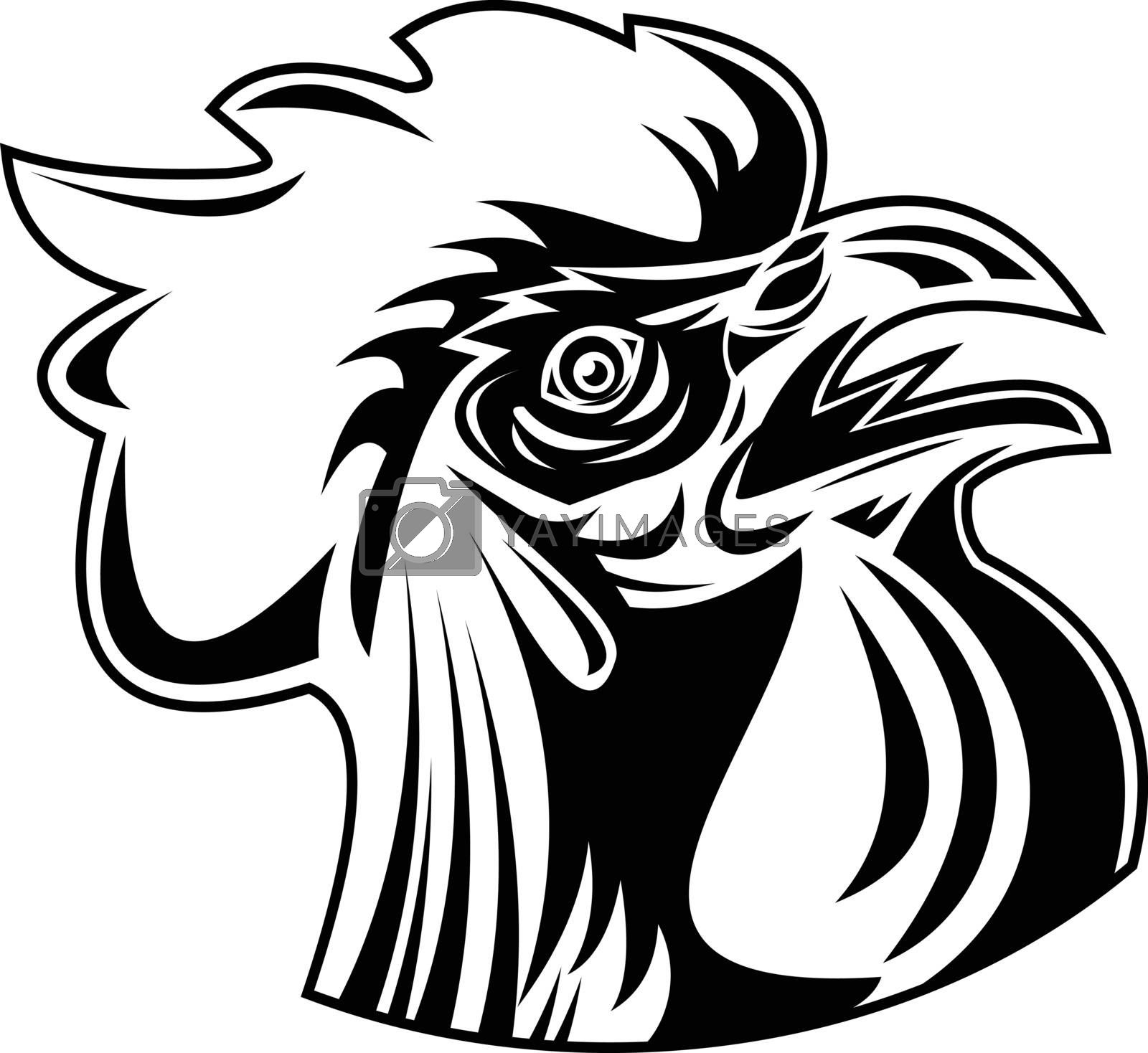 Retro style illustration of head of a rooster, jungle fowl or cockerel, an adult male chicken Gallus gallus domesticus, looking up viewed from side on isolated background done in black and white.