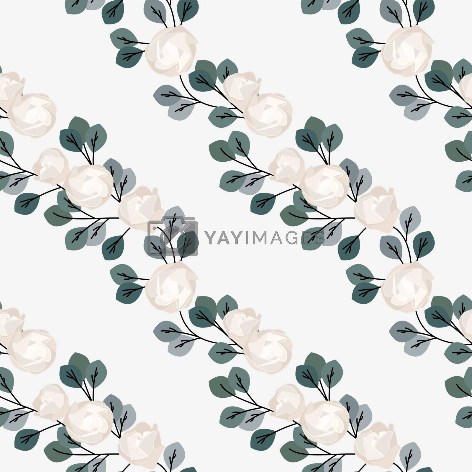 Vector illustration of a seamless pattern of roses with leaves. Natural background