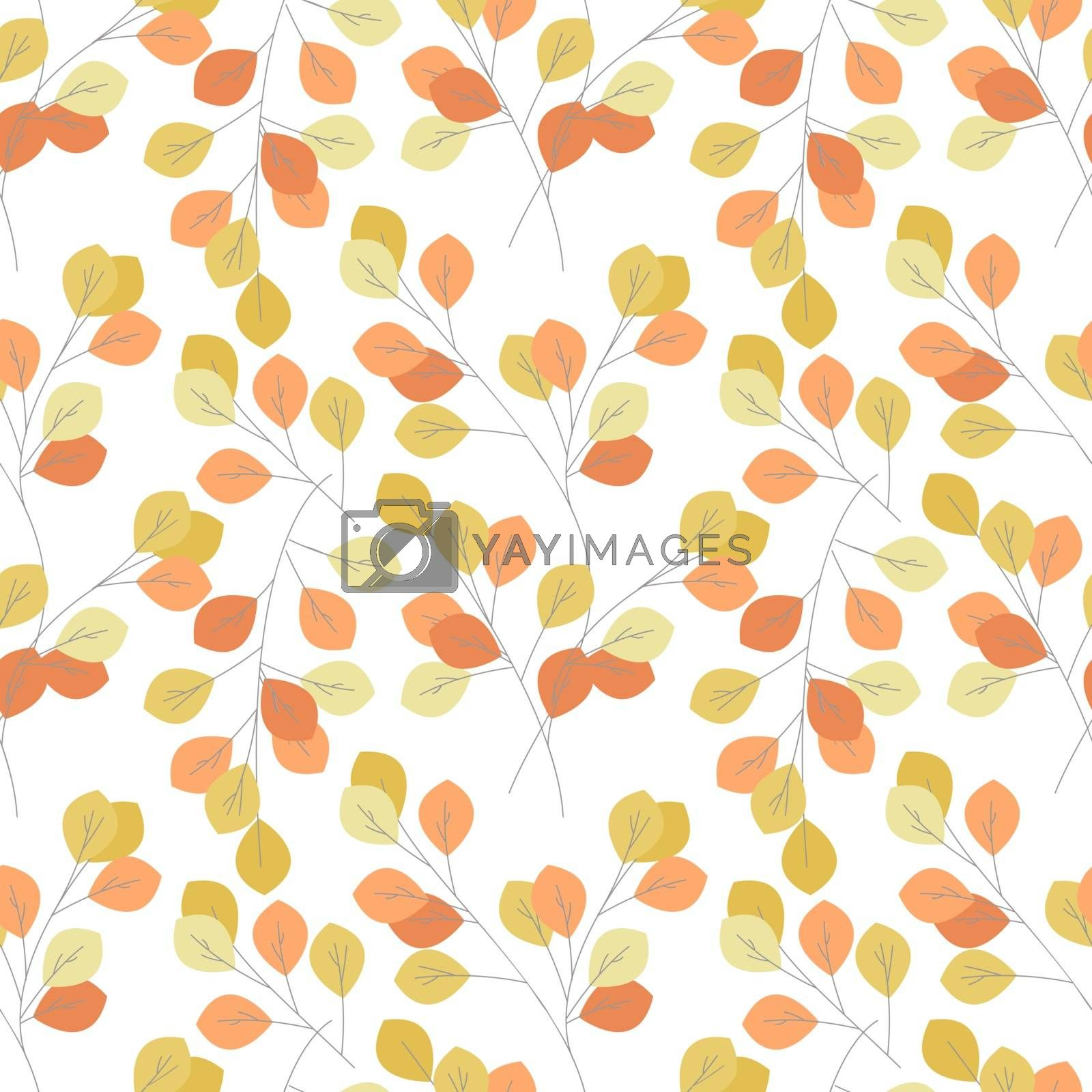 Vector illustration of seamless pattern of autumn leaves. Natural background