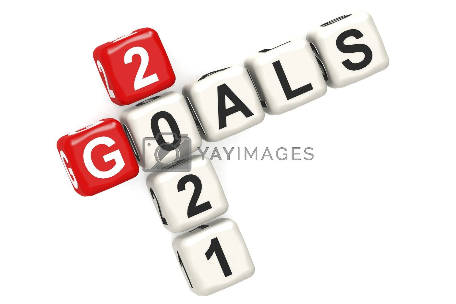 Goals 2021 word concept on cube block isolated by tang90246