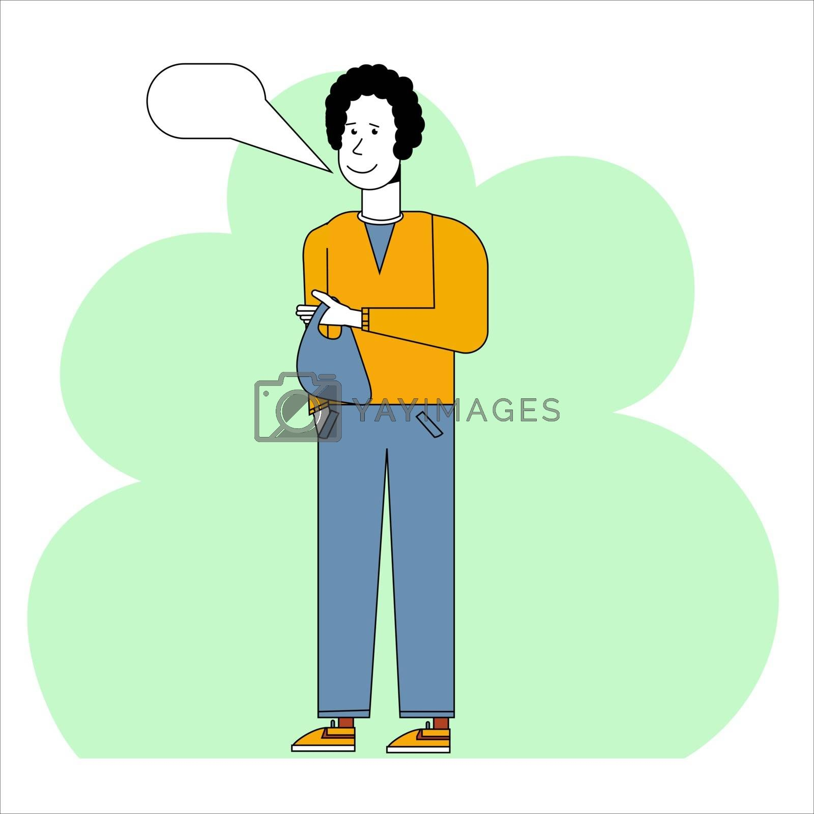 A man with a package comments on a purchase. A boy is holding a heavy bag for a drinks store. Concept for an online store