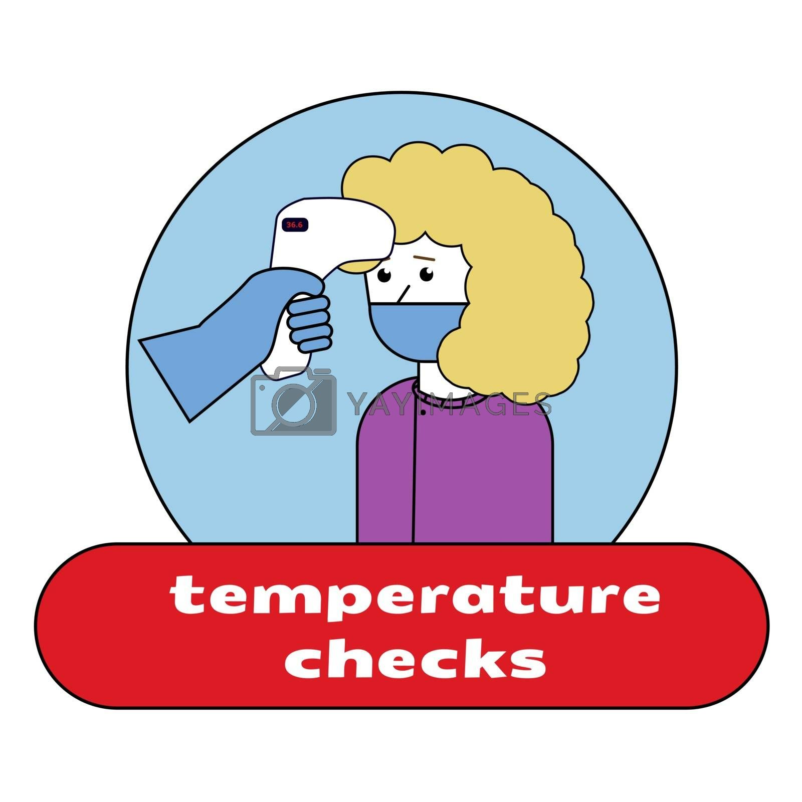Woman measuring body temperature and wearing a face mask, COVID-19 illustration. Temperature check.