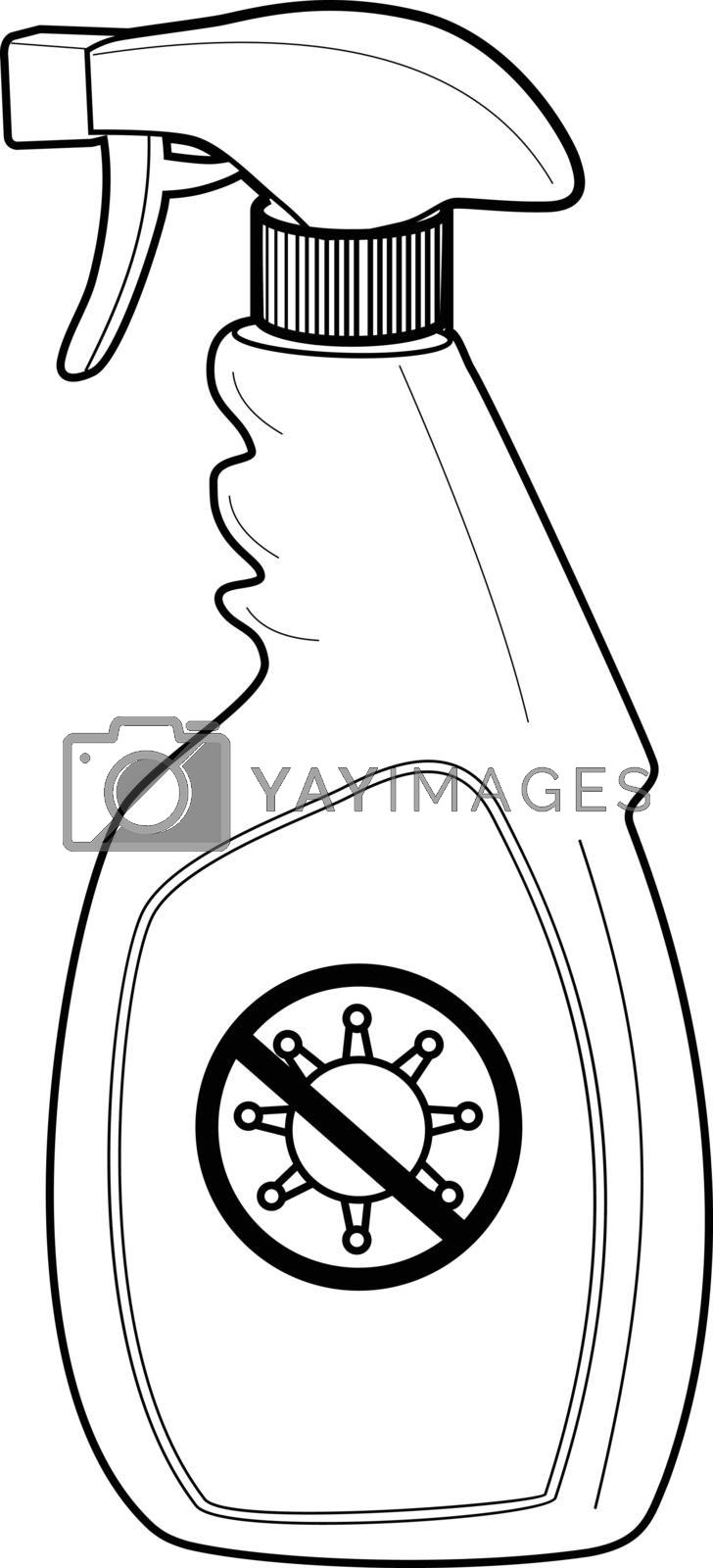 Line drawing style illustration of disinfectant spray bottle with stop pandemic virus sign viewed from side on isolated white background.