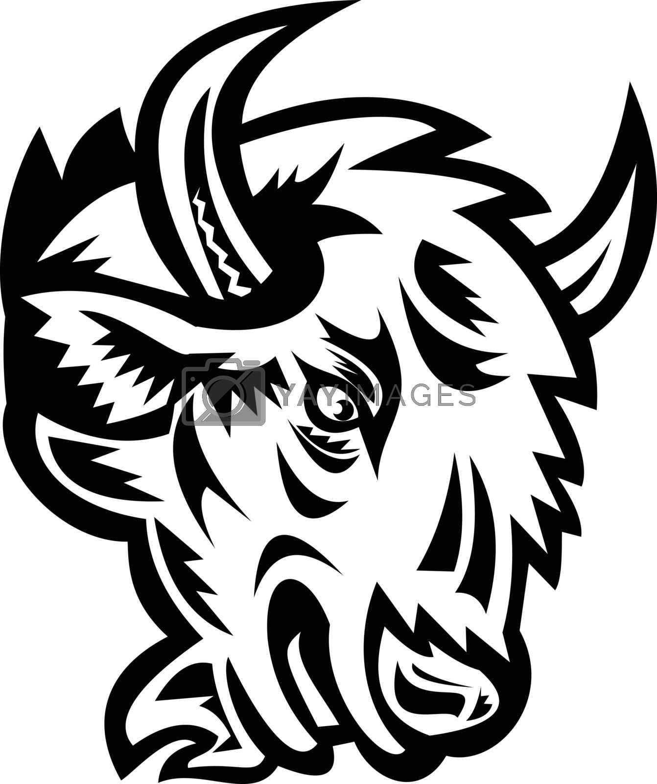 Mascot illustration of head of an angry North American bison or American buffalo viewed from side on isolated background in retro black and white style.