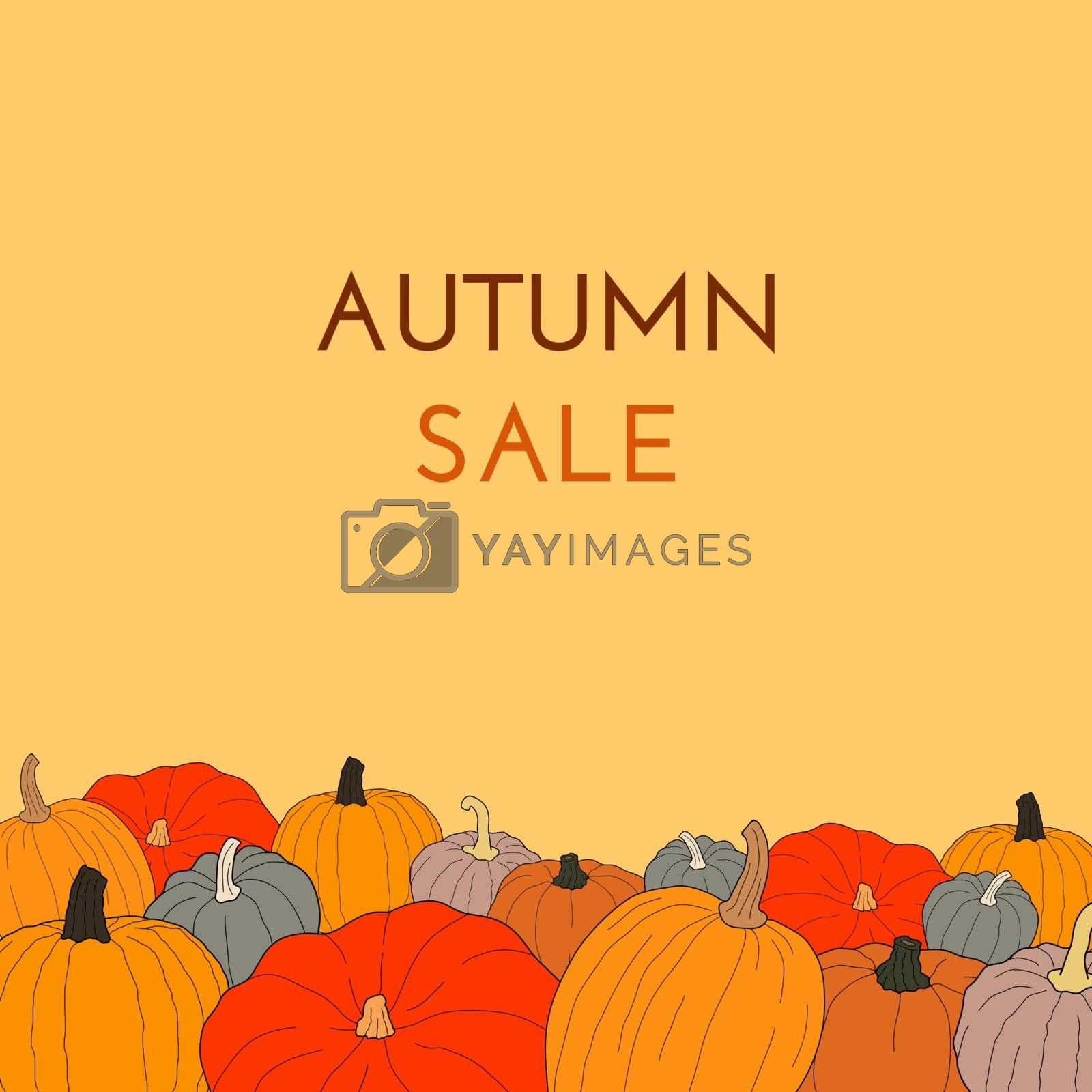 Autumn sale text vector banner with colorful pumpkins on orange background for shopping discount promotion. Vector illustration on doodle style.