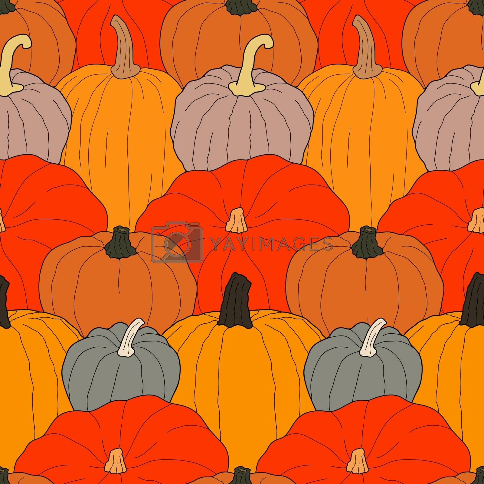 Pumpkin colorful seamless pattern. Vector illustration on doodle style. Healthy vegetarian food. Decoration for greeting cards, posters, patches, prints for clothes, emblems.