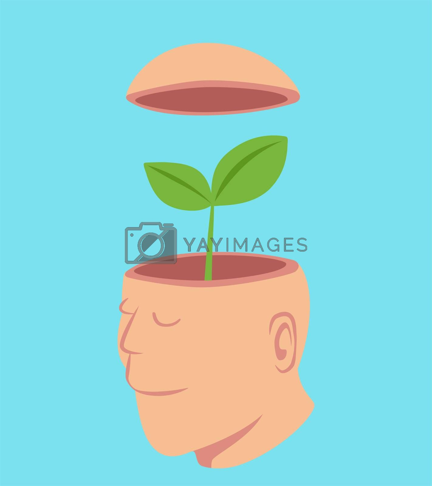 Man with a little tree in his open head, idea concept cartoon isolated on pastel color background vector illustration.