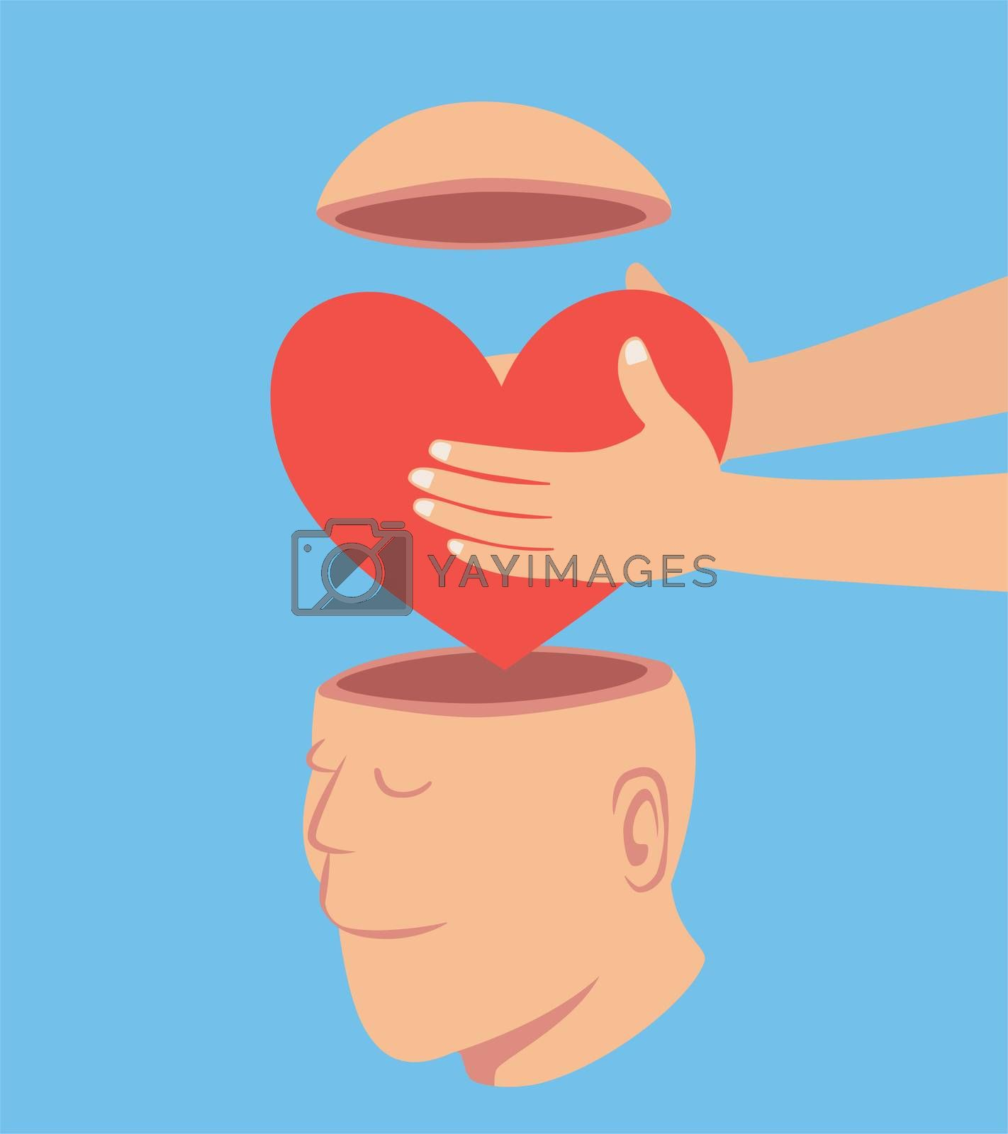 Man putting a Red heart to the open head man by Saeteaw