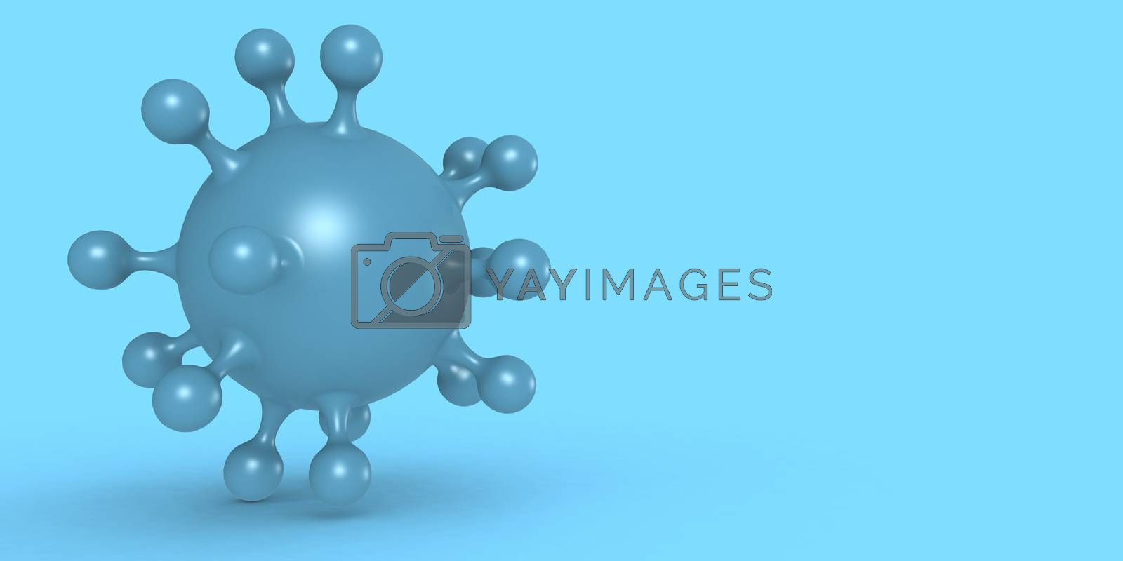 Corona virus cell in blue color background, 3D rendering