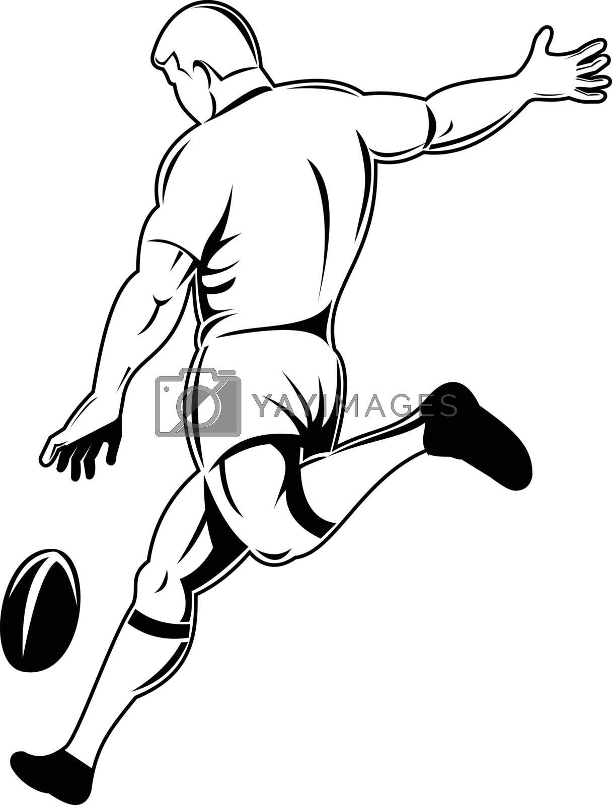 Retro woodcut style illustration of a rugby player or kicker drop kicking the ball viewed from rear or side on isolated background done in black and white.