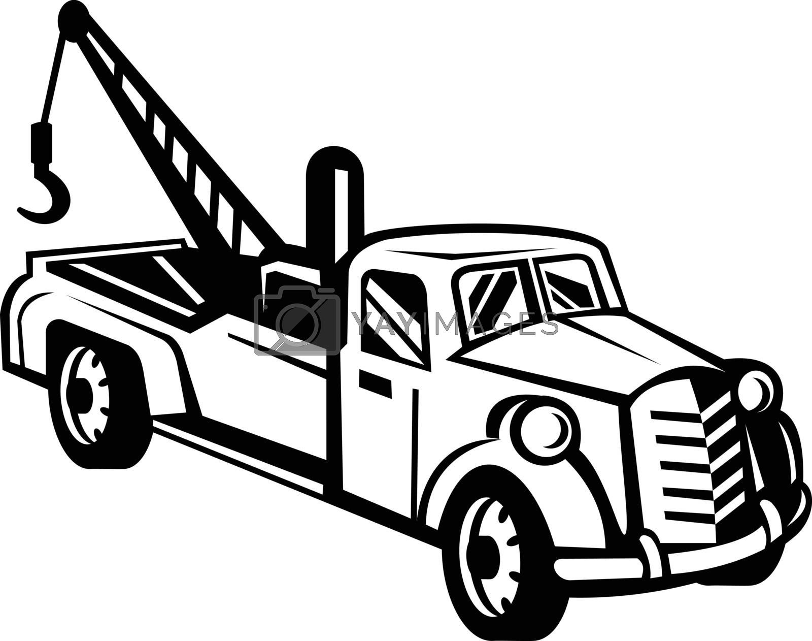 Black and white illustration of a vintage tow truck or wrecker pick-up truck lorry viewed from high angle on side done in retro style.