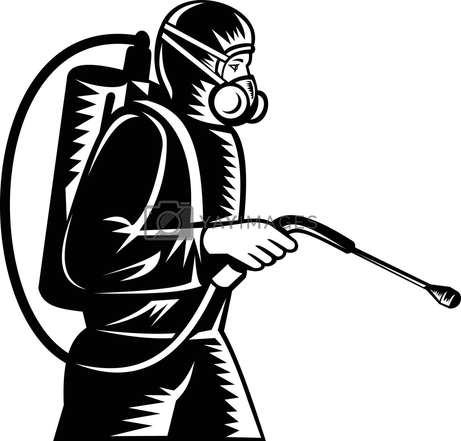 Black and white illustration of pest control exterminator spraying side view on isolated background done in retro woodcut style.