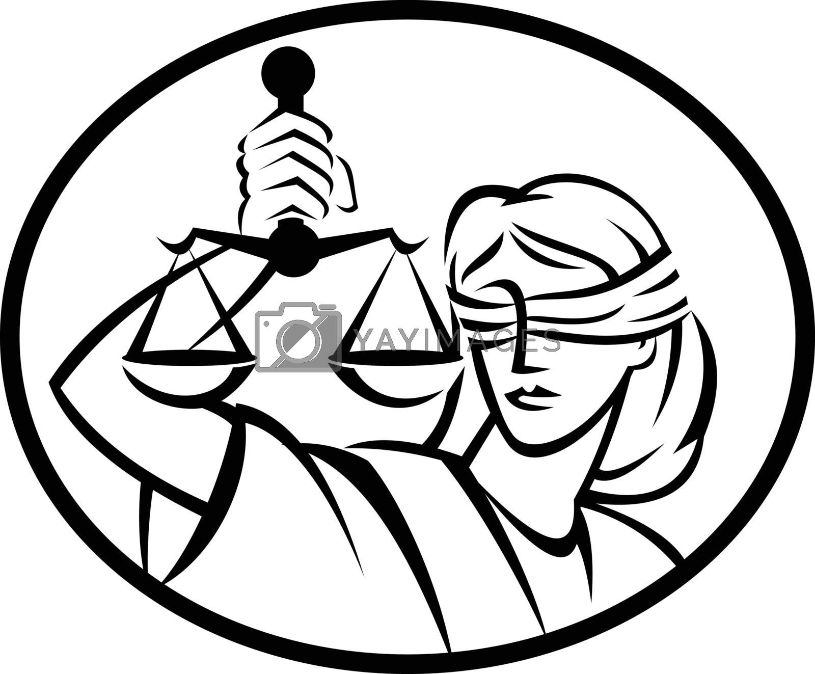 Retro style illustration of Lady Justice with blindfold and beam balance or weighing scale set inside oval on isolated background done in black and white.