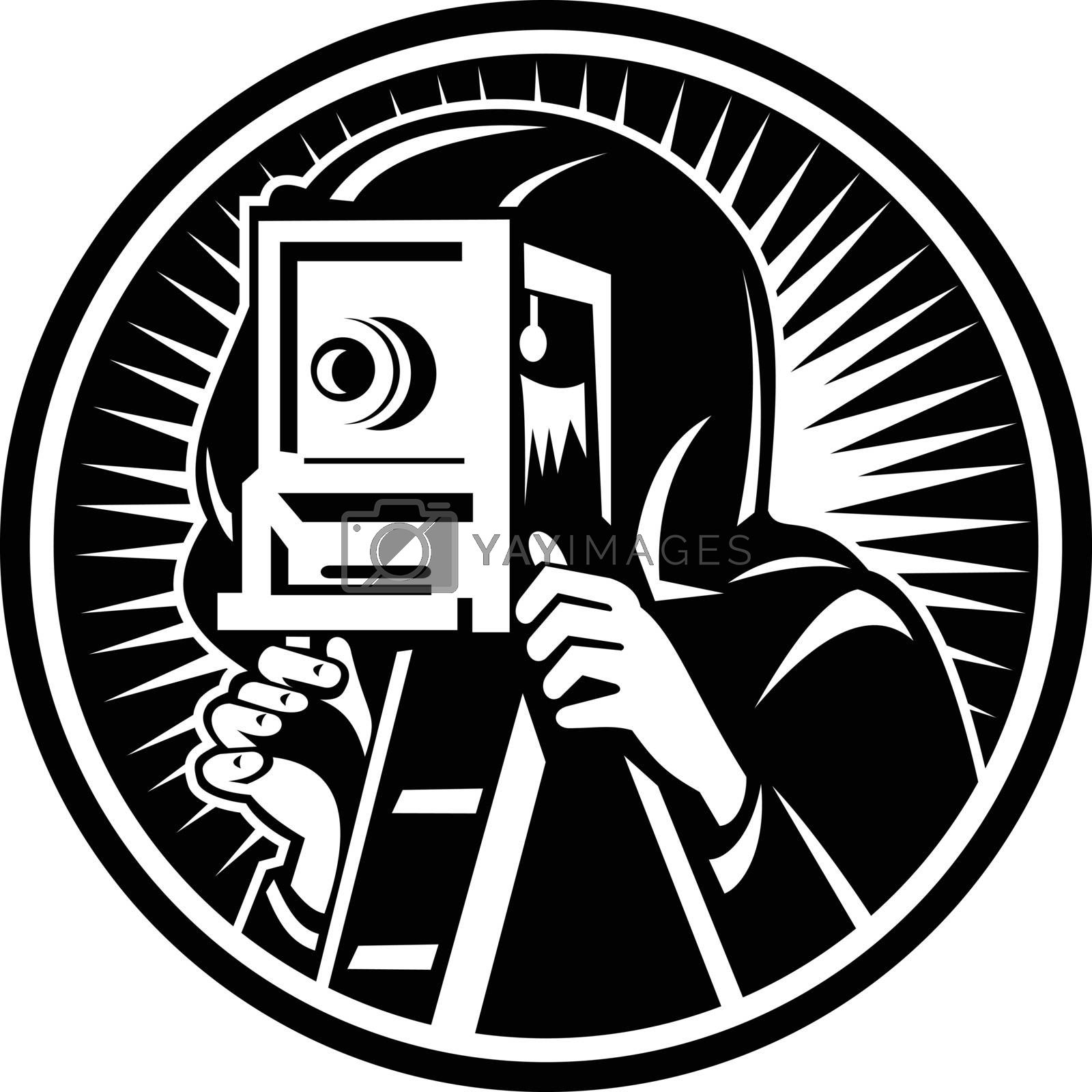 Retro woodcut style illustration of a photographer shooting taking photo using a vintage box camera viewed from front set inside circle on isolated background done in black and white.