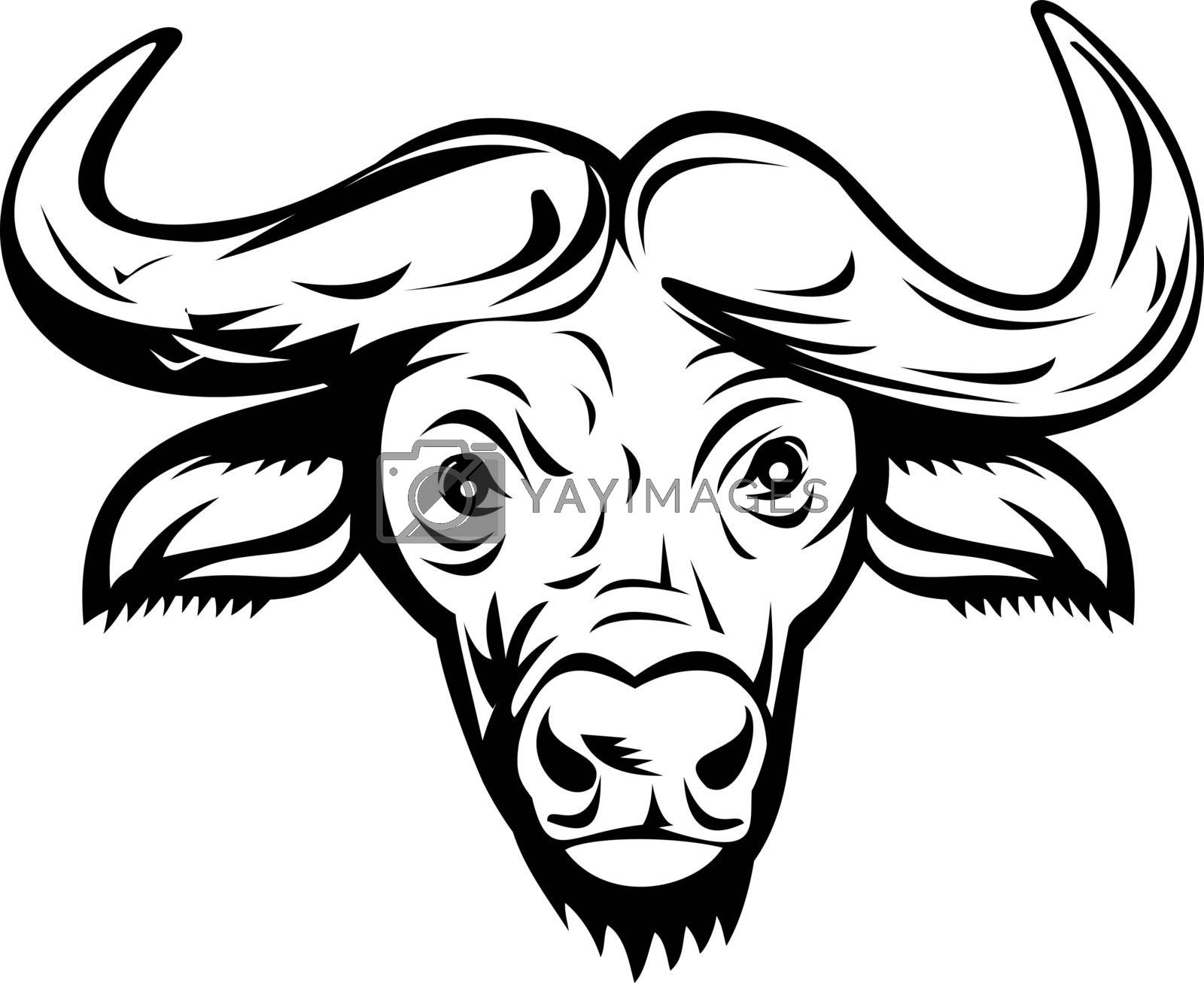 Retro style illustration of head of an African buffalo or Cape buffalo, a large sub-Saharan African bovine viewed from front on isolated background done in black and white.