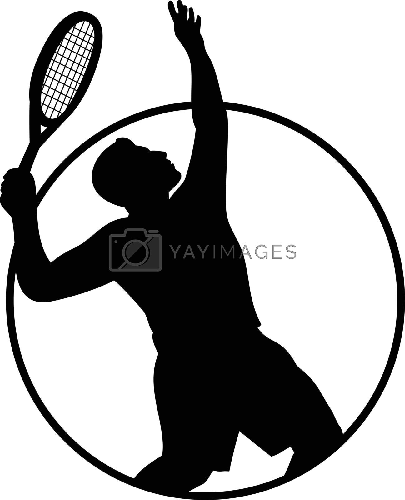 Retro style black and white illustration of a silhouette of a male tennis player with racquet or racket serving viewed from side set inside circle on isolated background.