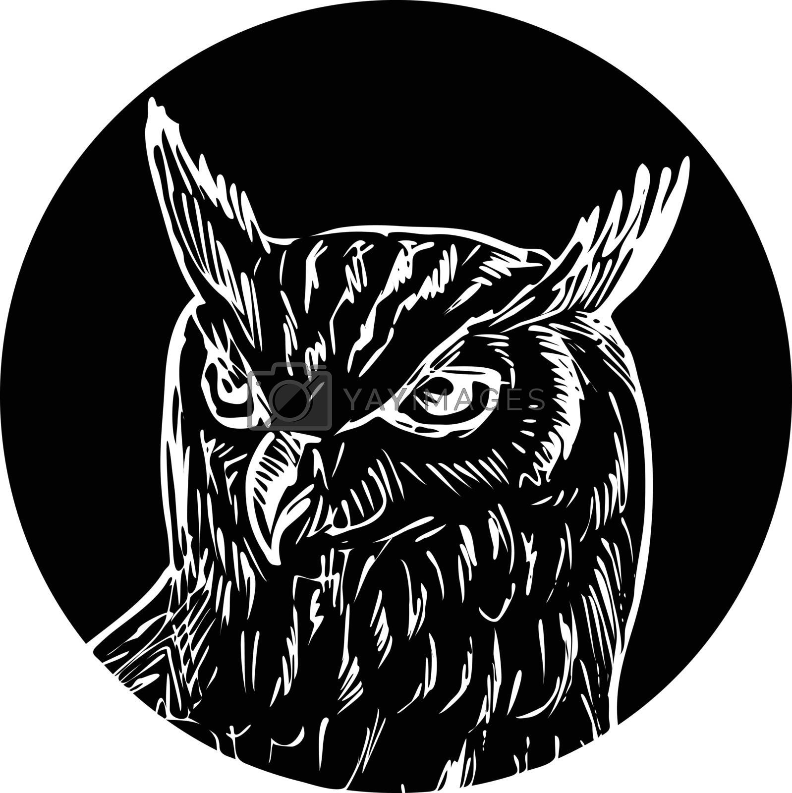 Retro woodcut style illustration of head of a great horned owl viewed from front set in circle on isolated background done in black and white.