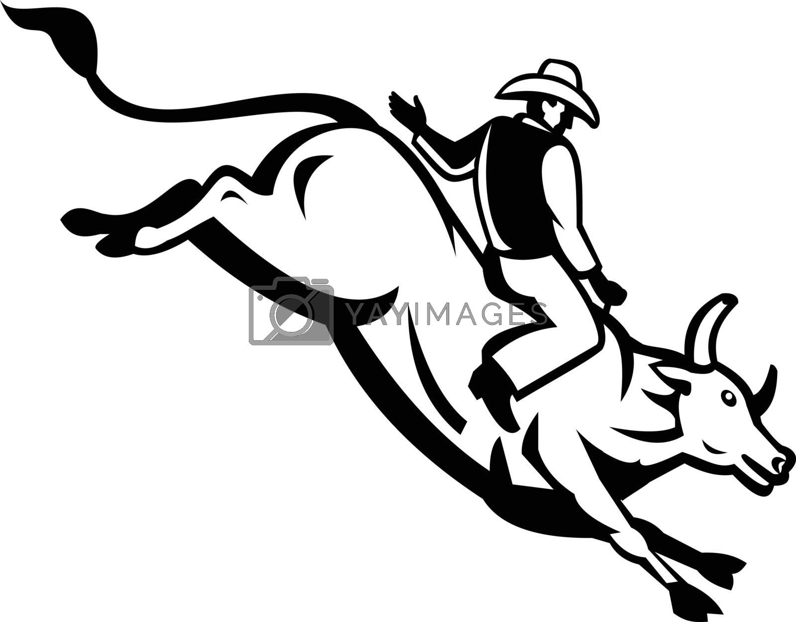 Retro style illustration of an American bull rider riding a bucking bull trying to stay mounted while the animal tries to buck off viewed from side on isolated background done in black and white.