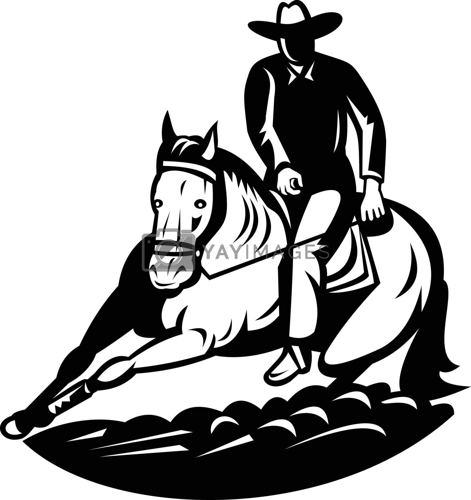Retro style illustration of a professional rodeo cutting horse competition, a western-style equestrian competition which a horse and rider work together on isolated background done in black and white.