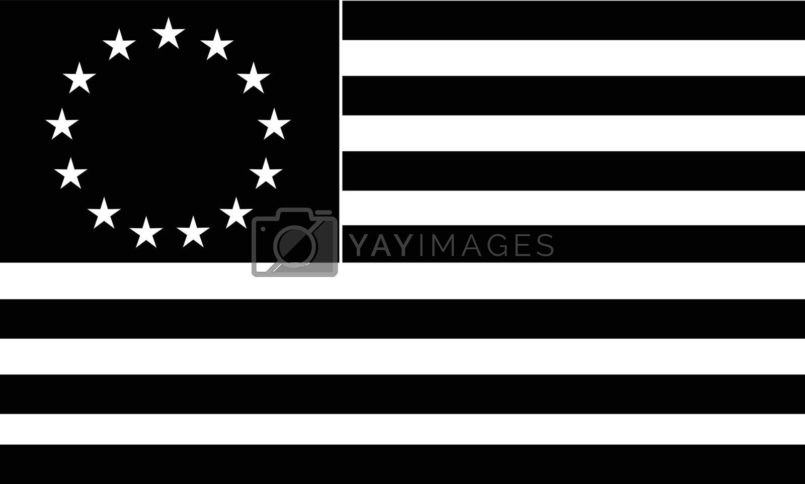 Black and white illustration of a the Betsy Ross flag, an early design of United States flag with 13 alternating red-and-white stripes with stars in upper left corner canton on isolated background.