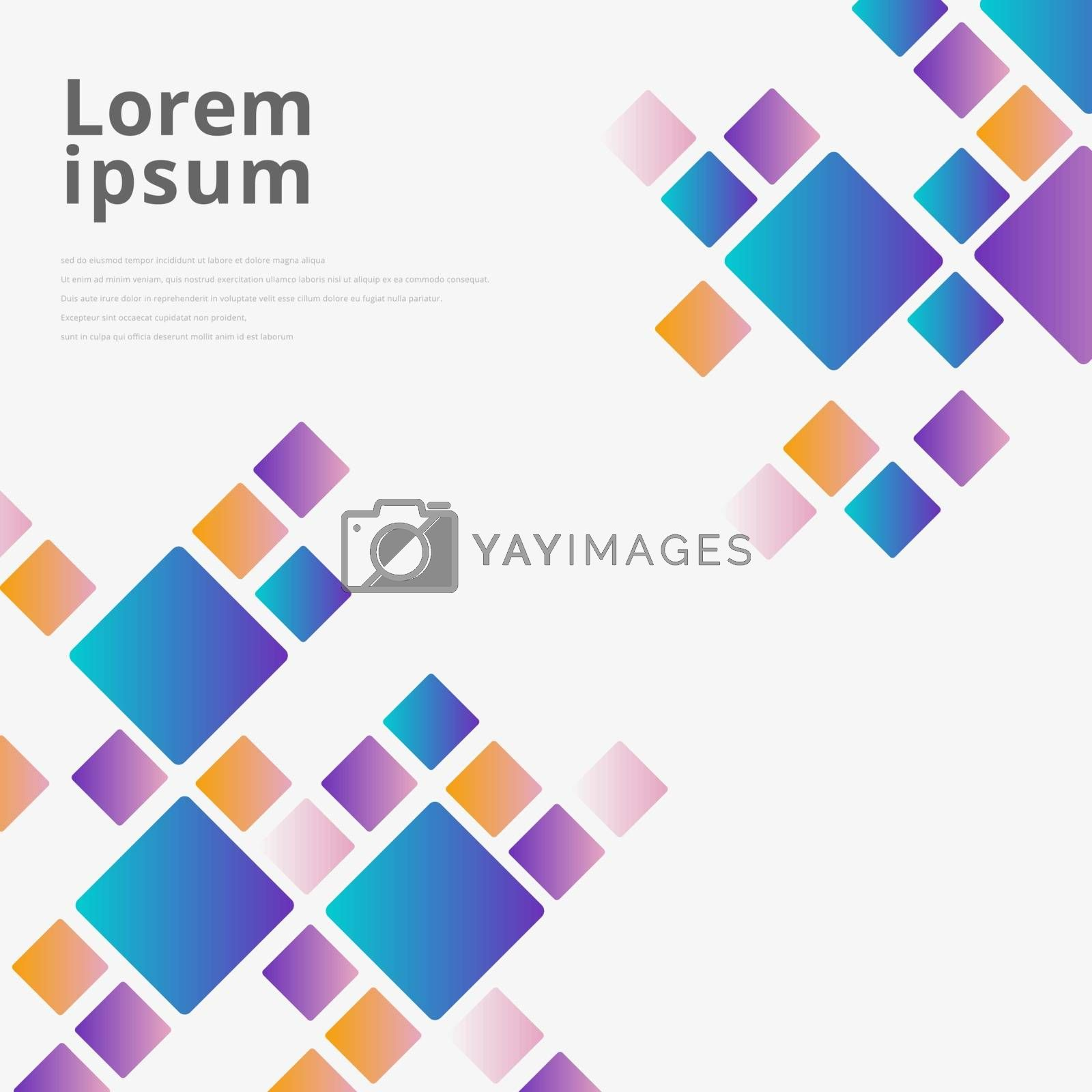Abstract blue, pink, yellow gradient color square pattern randow size on white background. Vector illustration