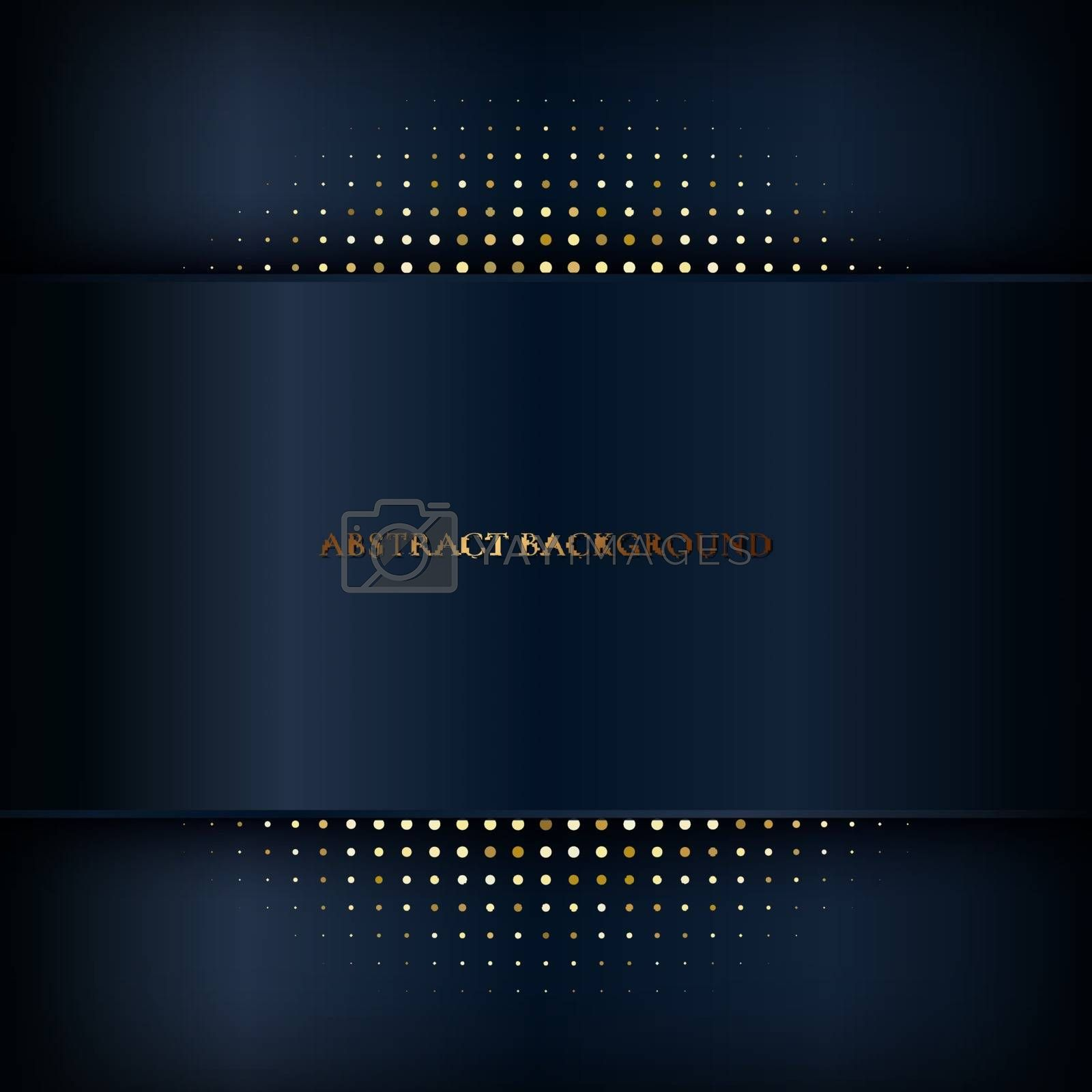 Abstract dark blue stripe background with shadow and gold halftone effect. Luxury style. Vector illustration