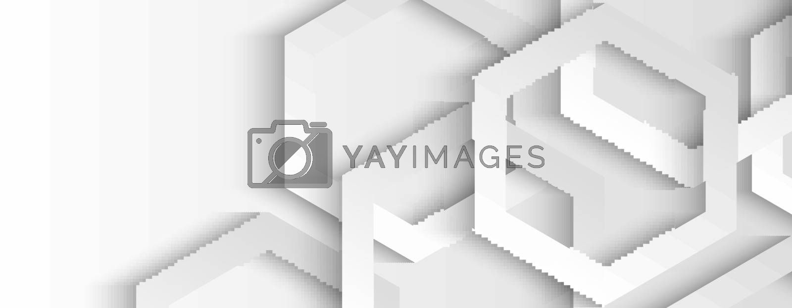 Abstract white and gray geometric hexagon overlapping layer with shadow background. Vector illustration