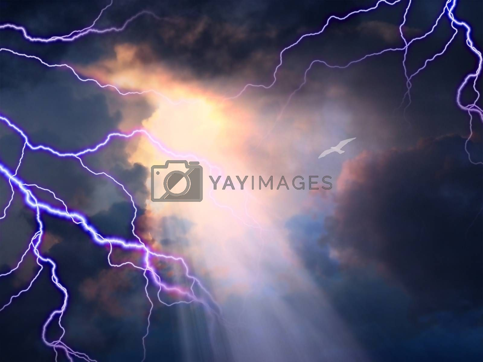 Storm rages about little white bird flying toward sunlight. 3D rendering