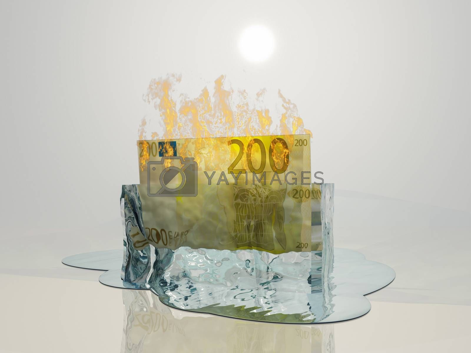 Banknote in ice on fire. Euro Melt. 3D rendering