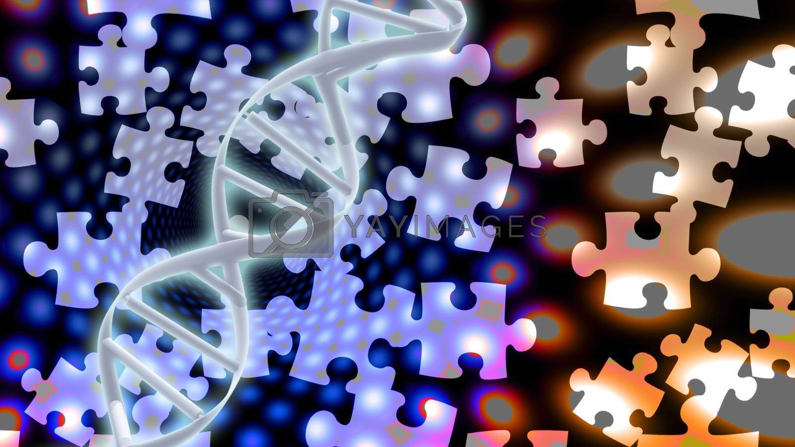 The Riddle of DNA. 3D rendering