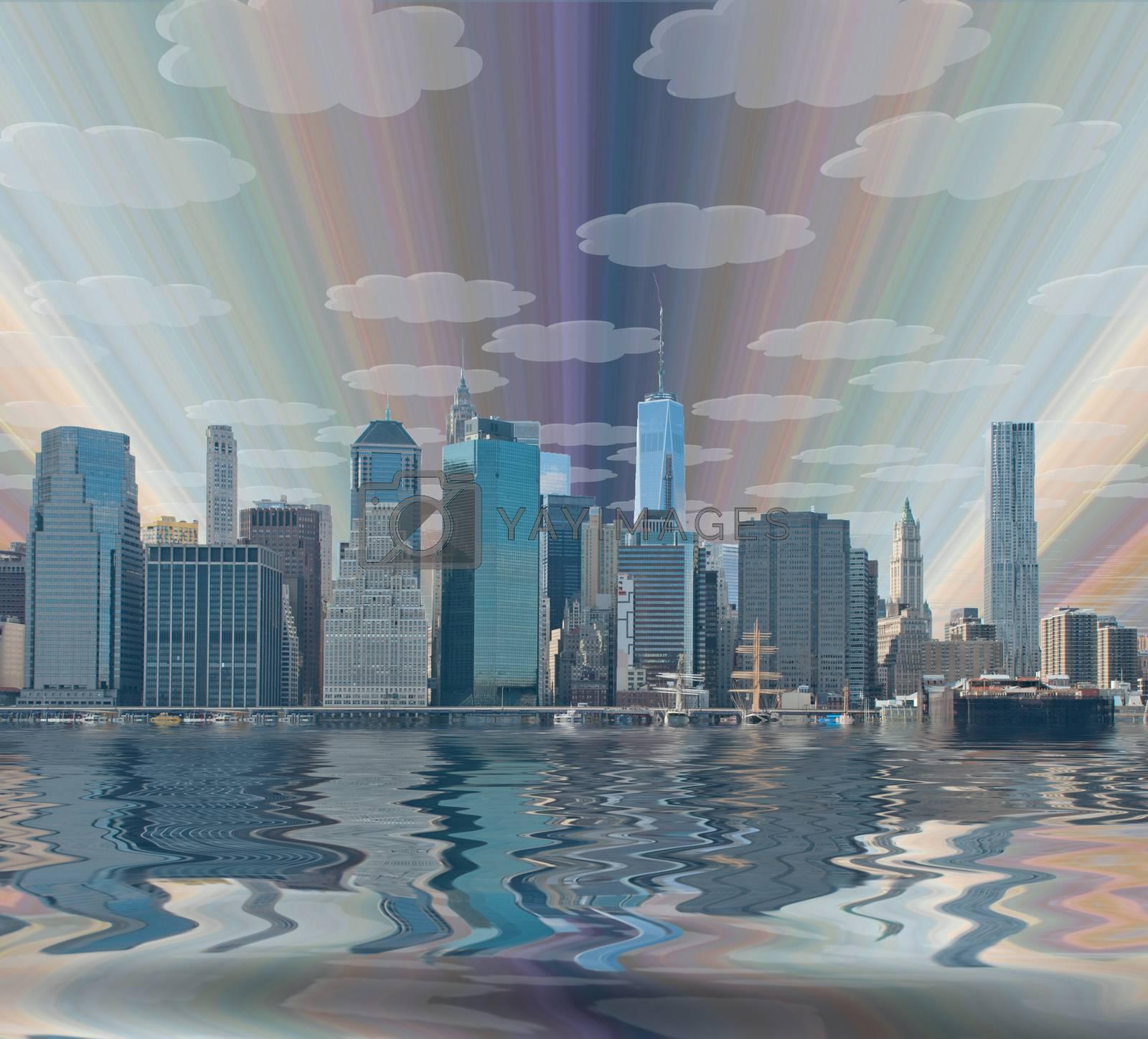 Fantasy New York City. 3D rendering