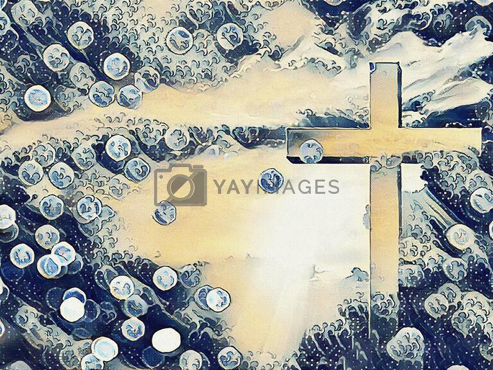 Spiritual painting. Cross in rays of light. Bokeh. 3D rendering