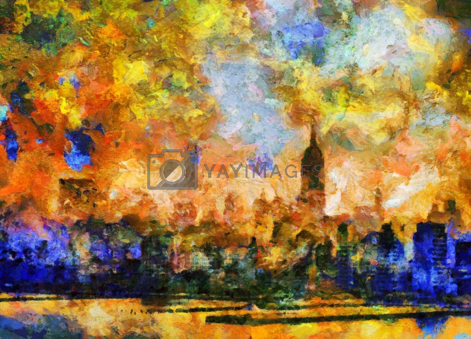 New York. Abstract Painting. 3D rendering