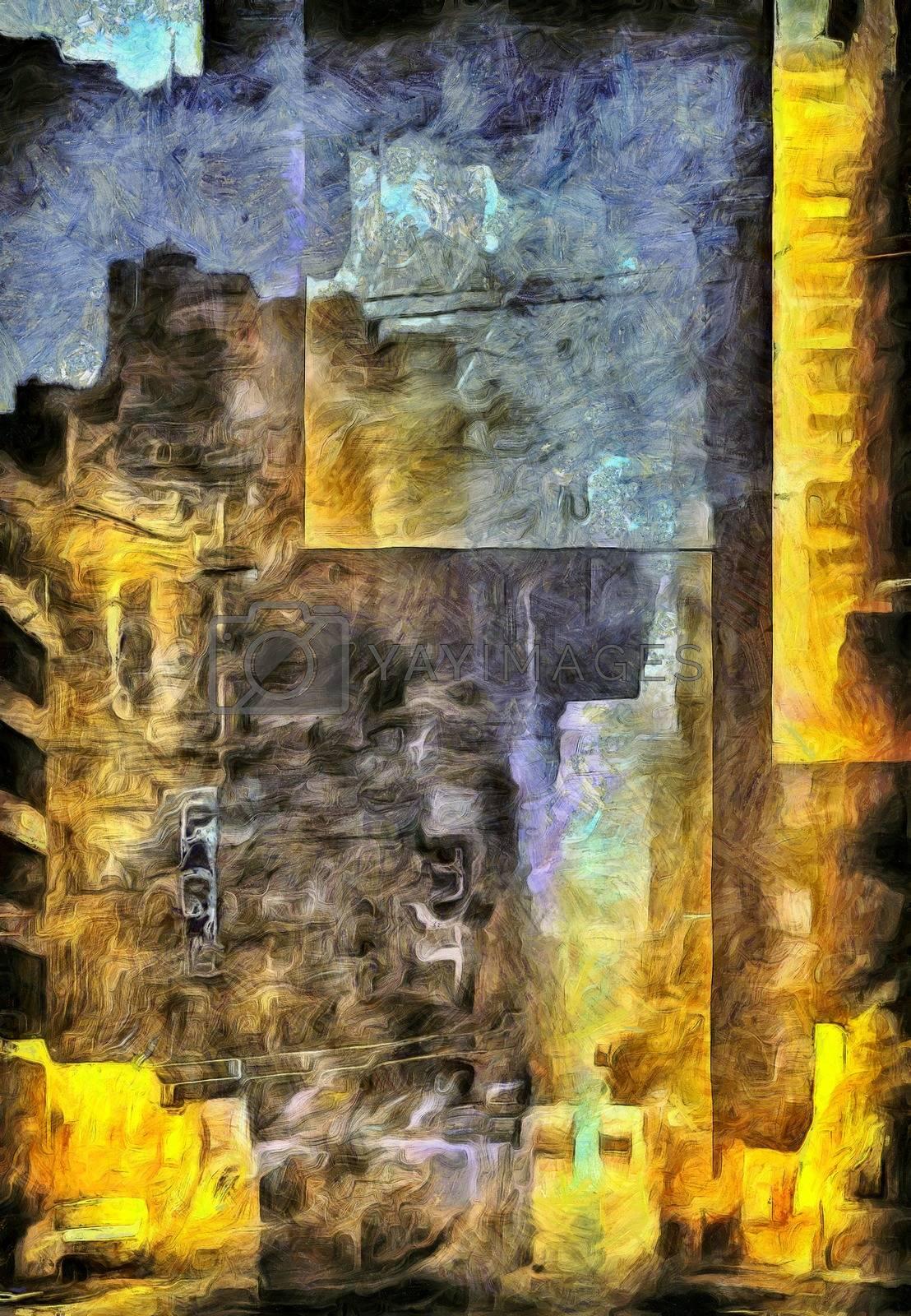 Big city burden. Modern abstract painting. 3D rendering