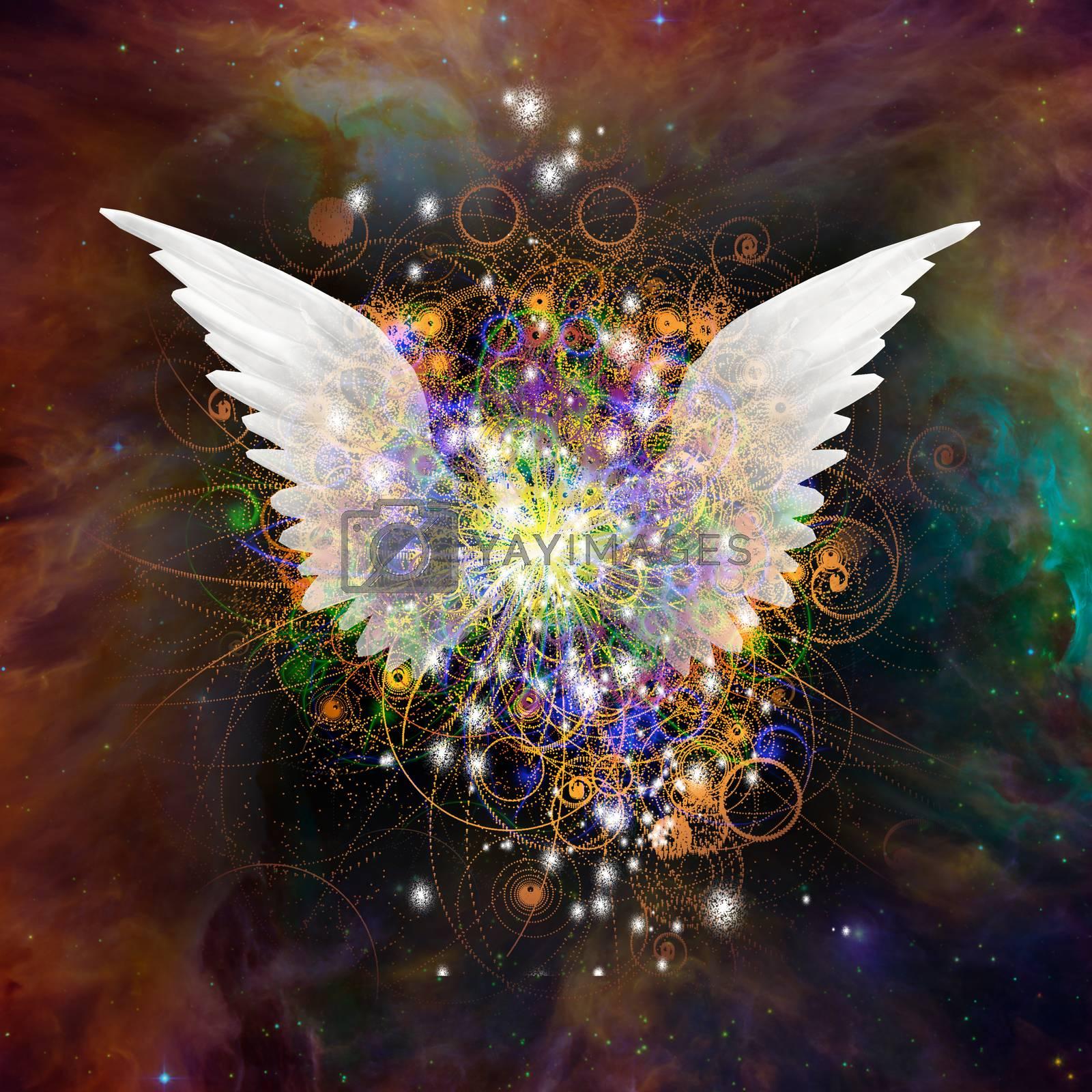 Angel wings in vivid space. 3D rendering
