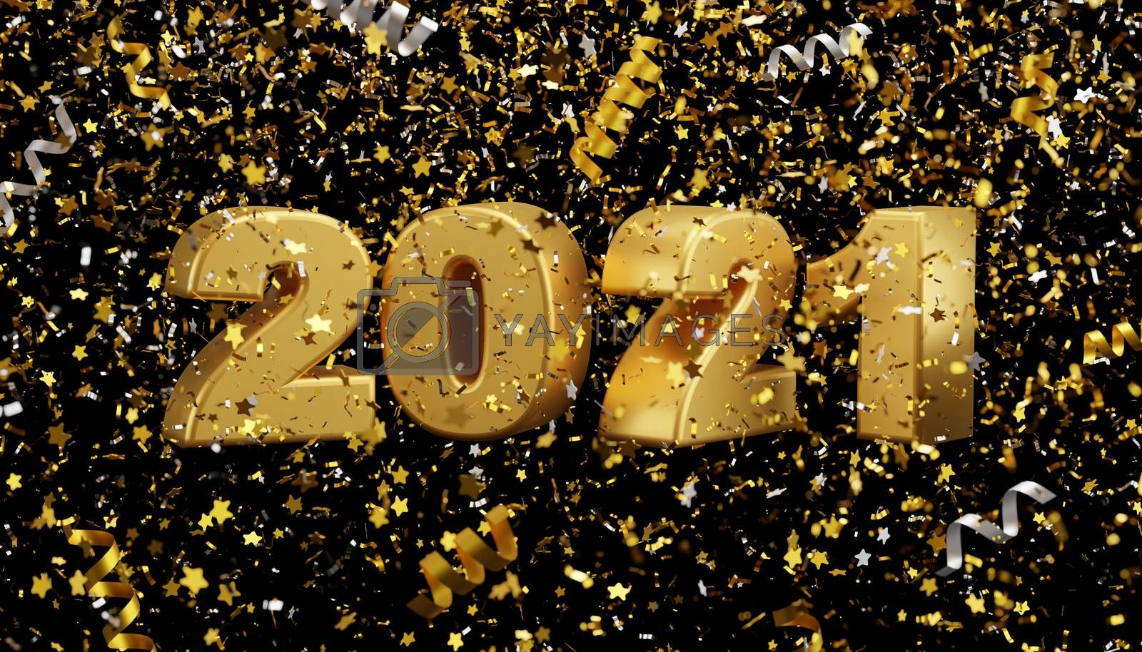New year 2021 and foil confetti falling on black background 3d r by Myimagine