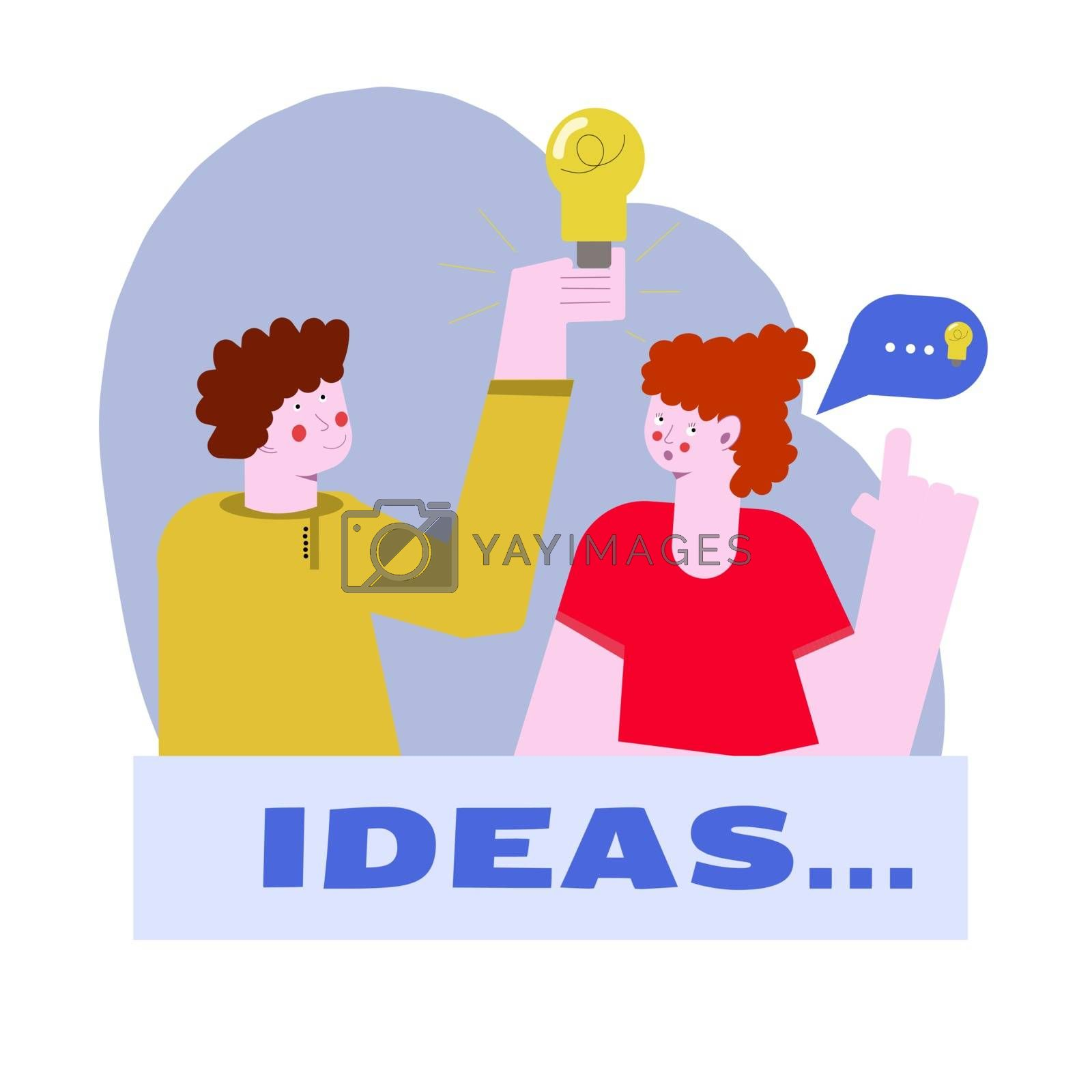A man and a woman are working on a project together. The guy comes up with an idea, and the woman refines it. Bad idea and criticism. Vector illustration of cartoon characters in flat style