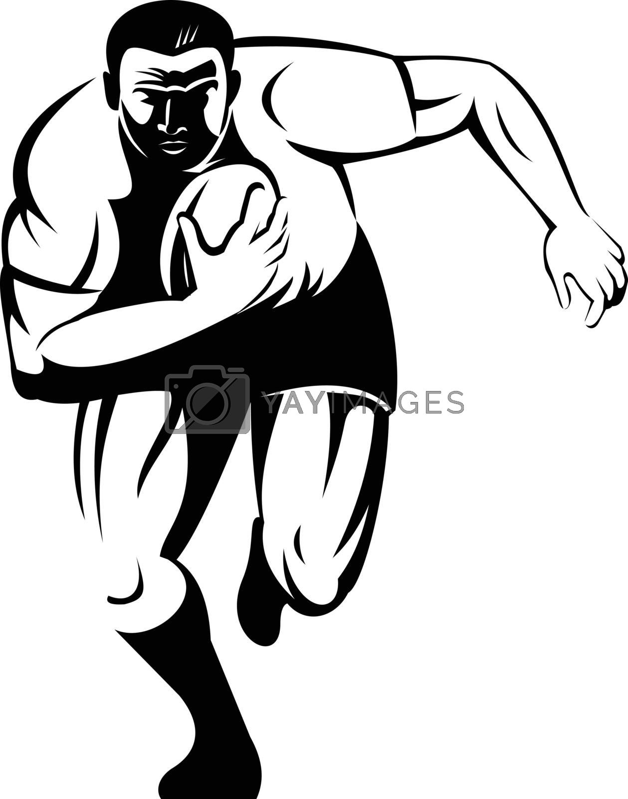 Retro woodcut style illustration of a rugby player running with the ball viewed from front on isolated background done in black and white.