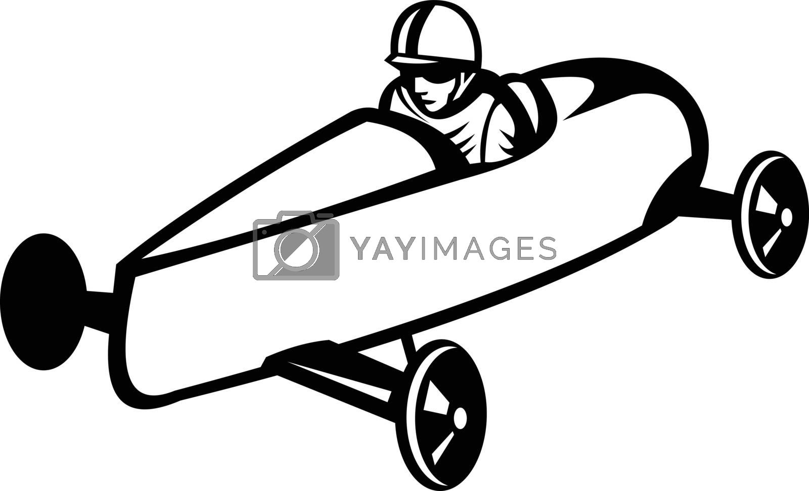 Retro black and white style illustration of a soap box derby or soapbox car racer racing in competition viewed from side on high angle on isolated white background.