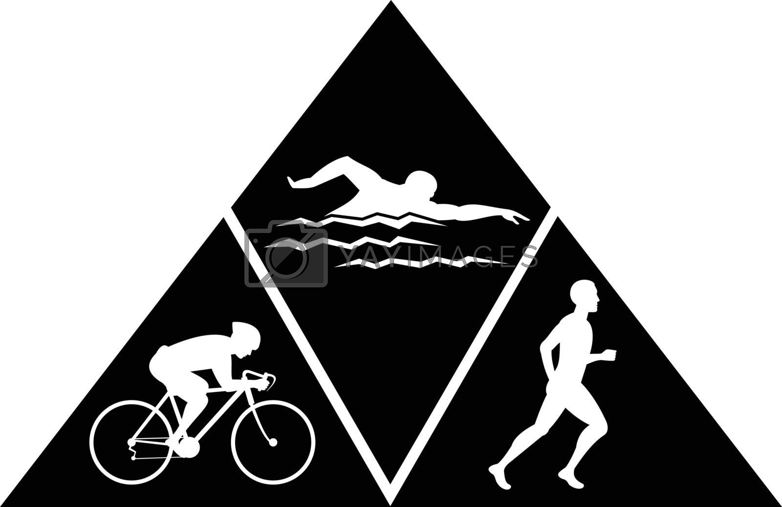 Retro black and white style illustration of triathlon, a multisport activity that comprises of running, swimming and cycling all in a single event set inside triangle on isolated background.