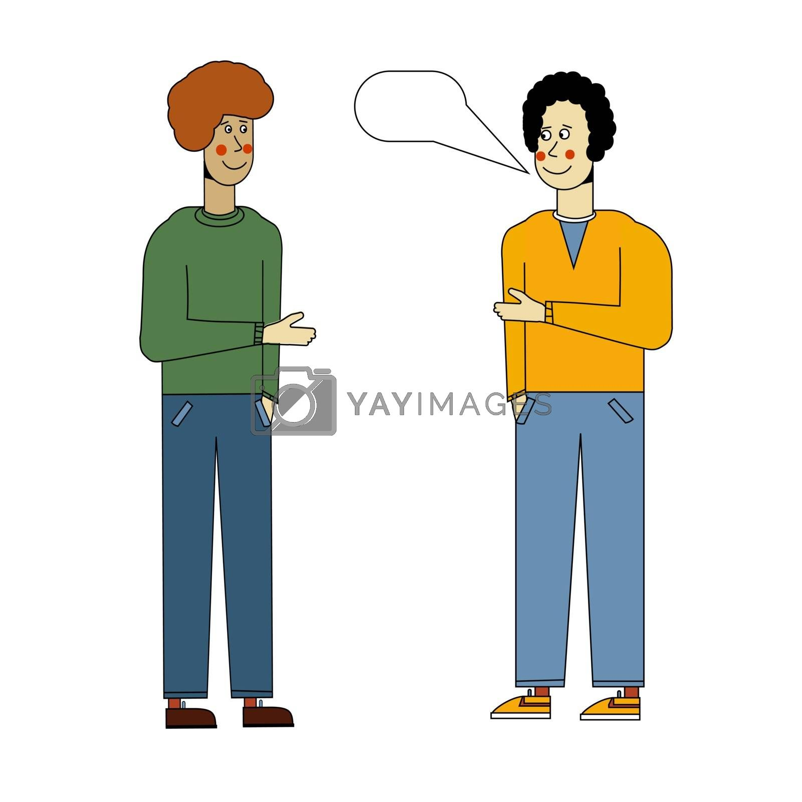 The two men are talking. Meeting guys. Morning greeting. Vector illustration in flat style by zaryov