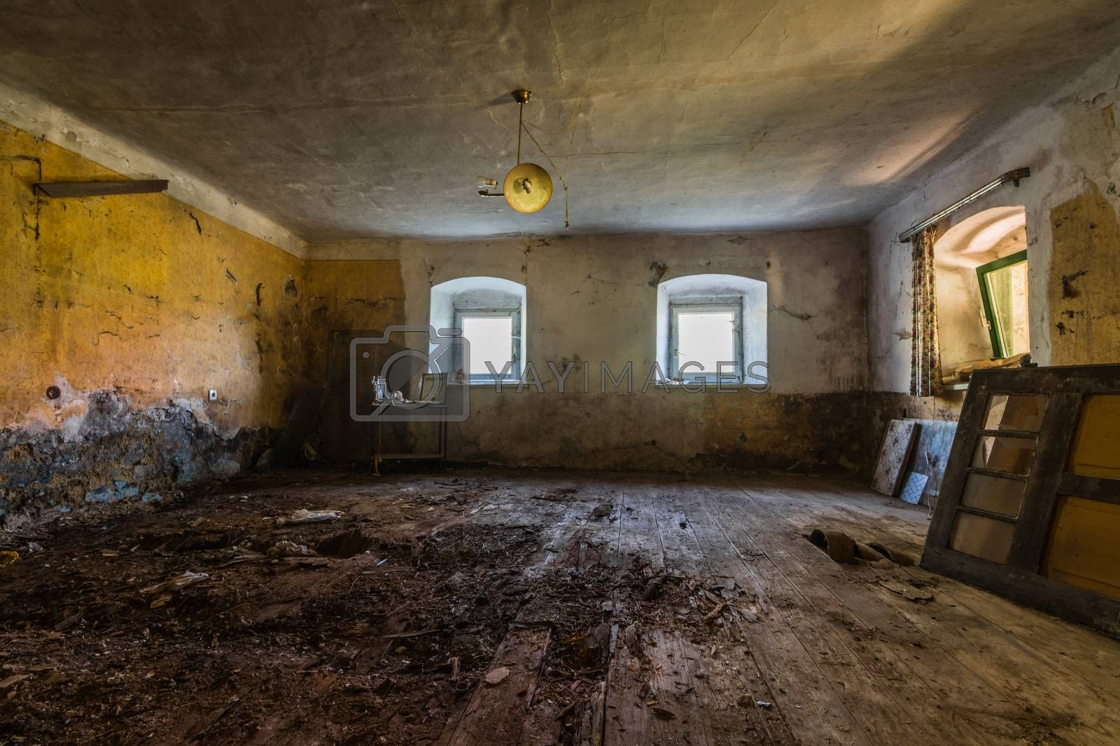 empty yellow room of a house on the land