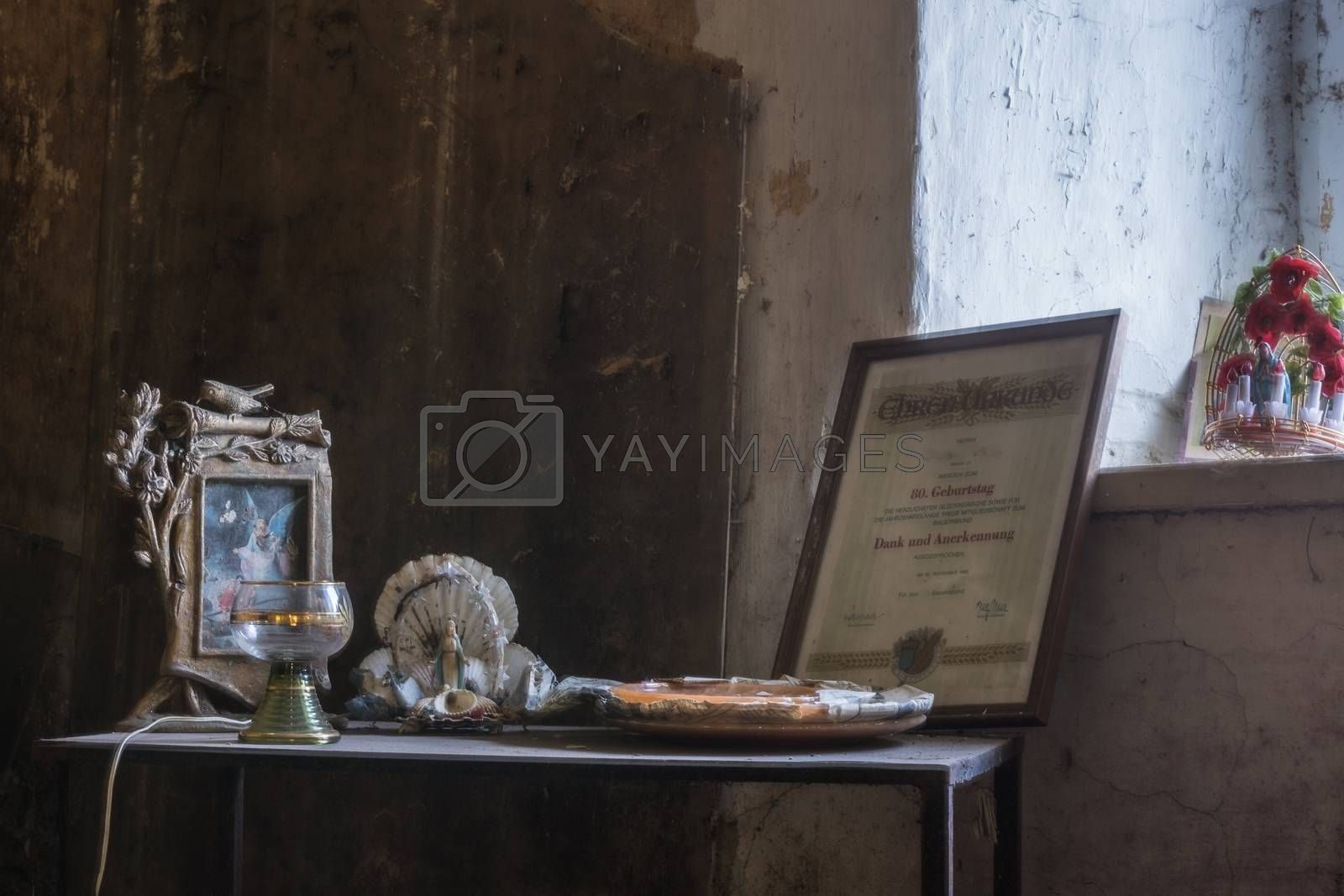 old beautiful objects in a room of a house