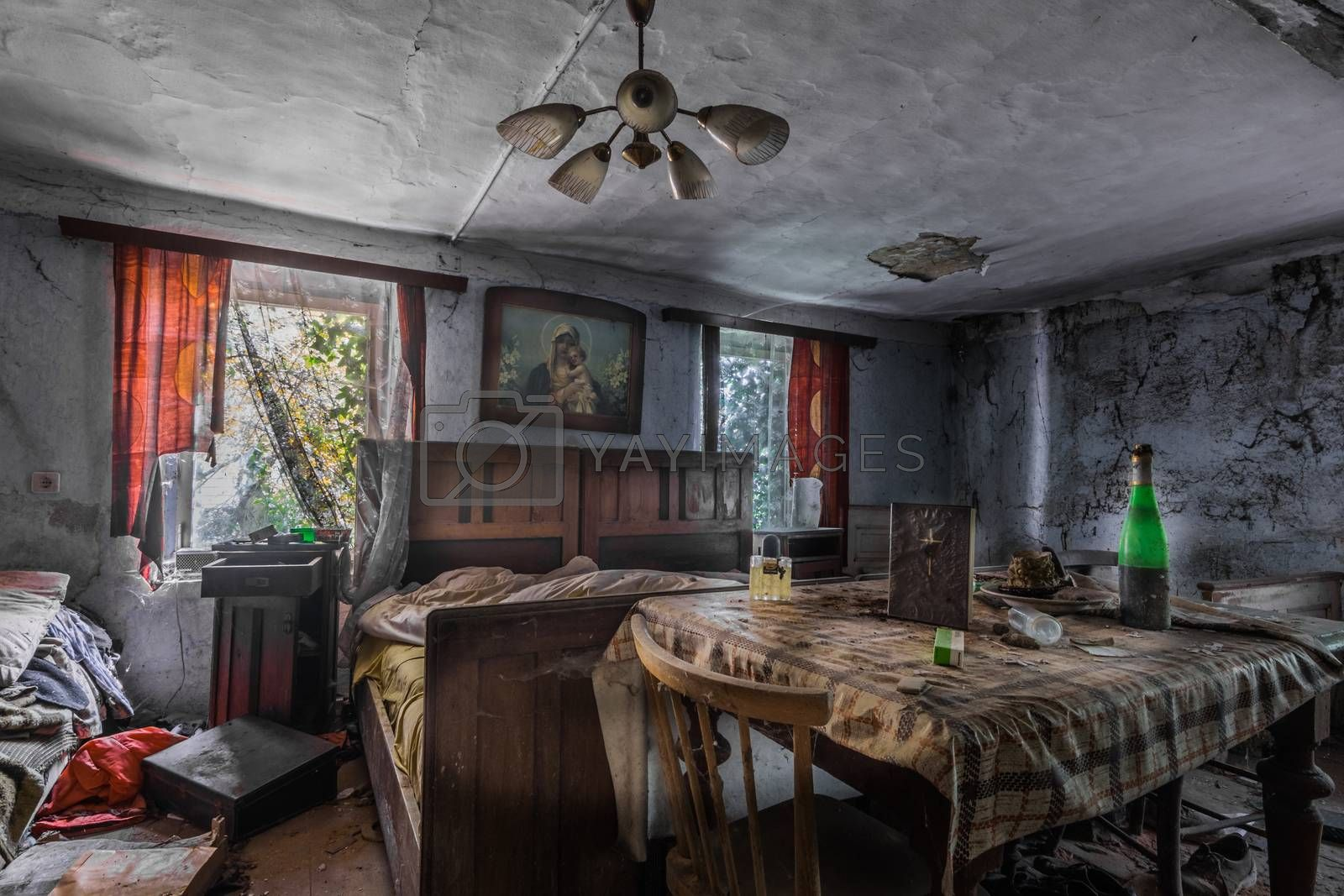 furnished abandoned room in an old house