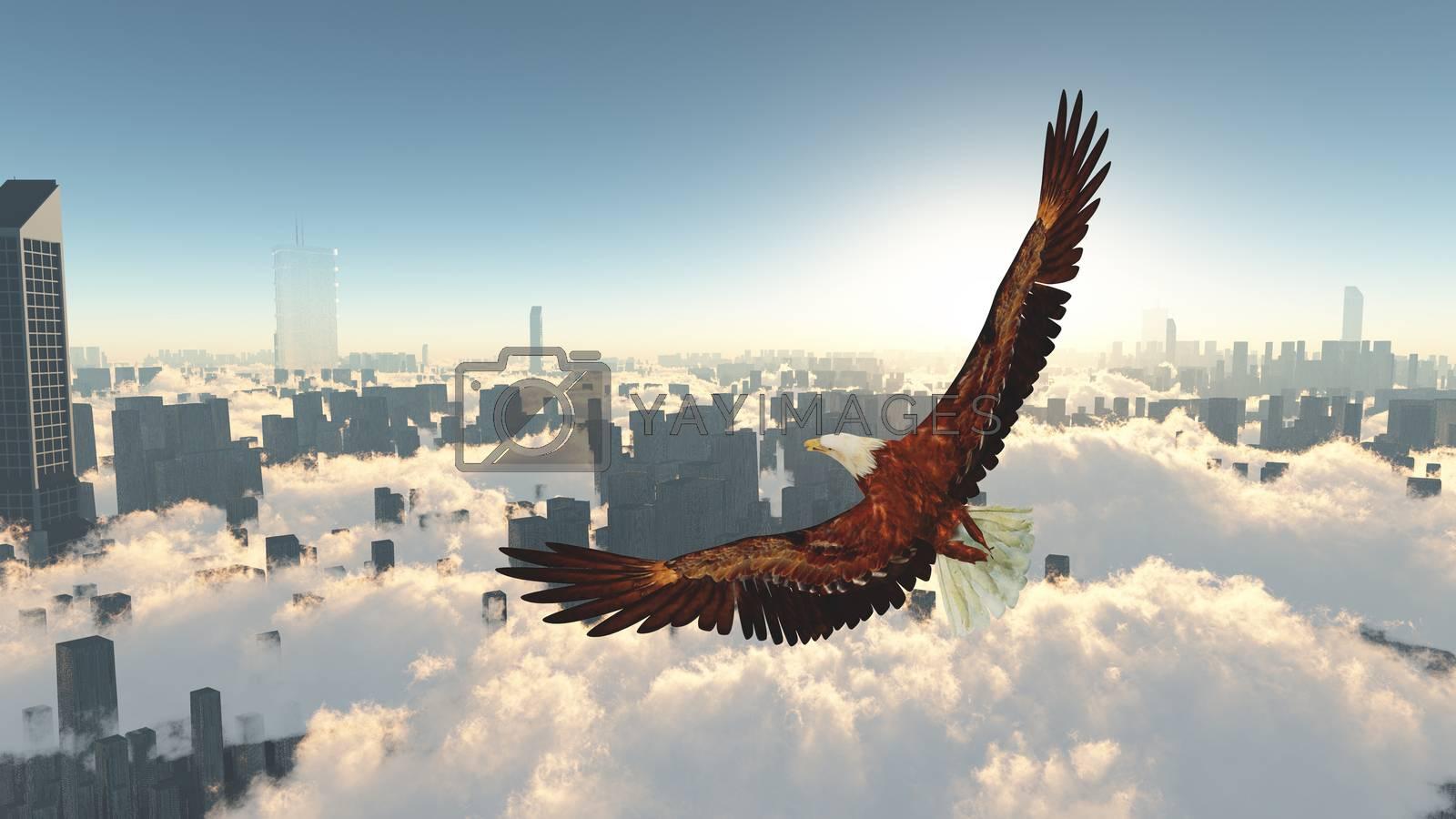 Eagle flies above megapolis. 3D rendering