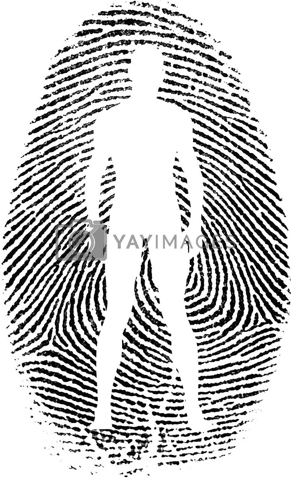 Man silhouette in fingerprint. 3D rendering