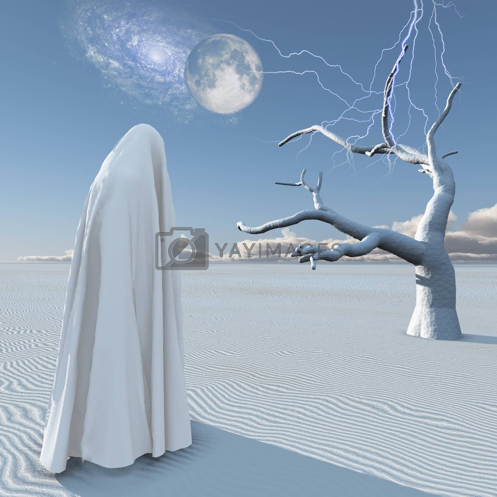 Figure in white clothes stands in surreal white desert. 3D rendering