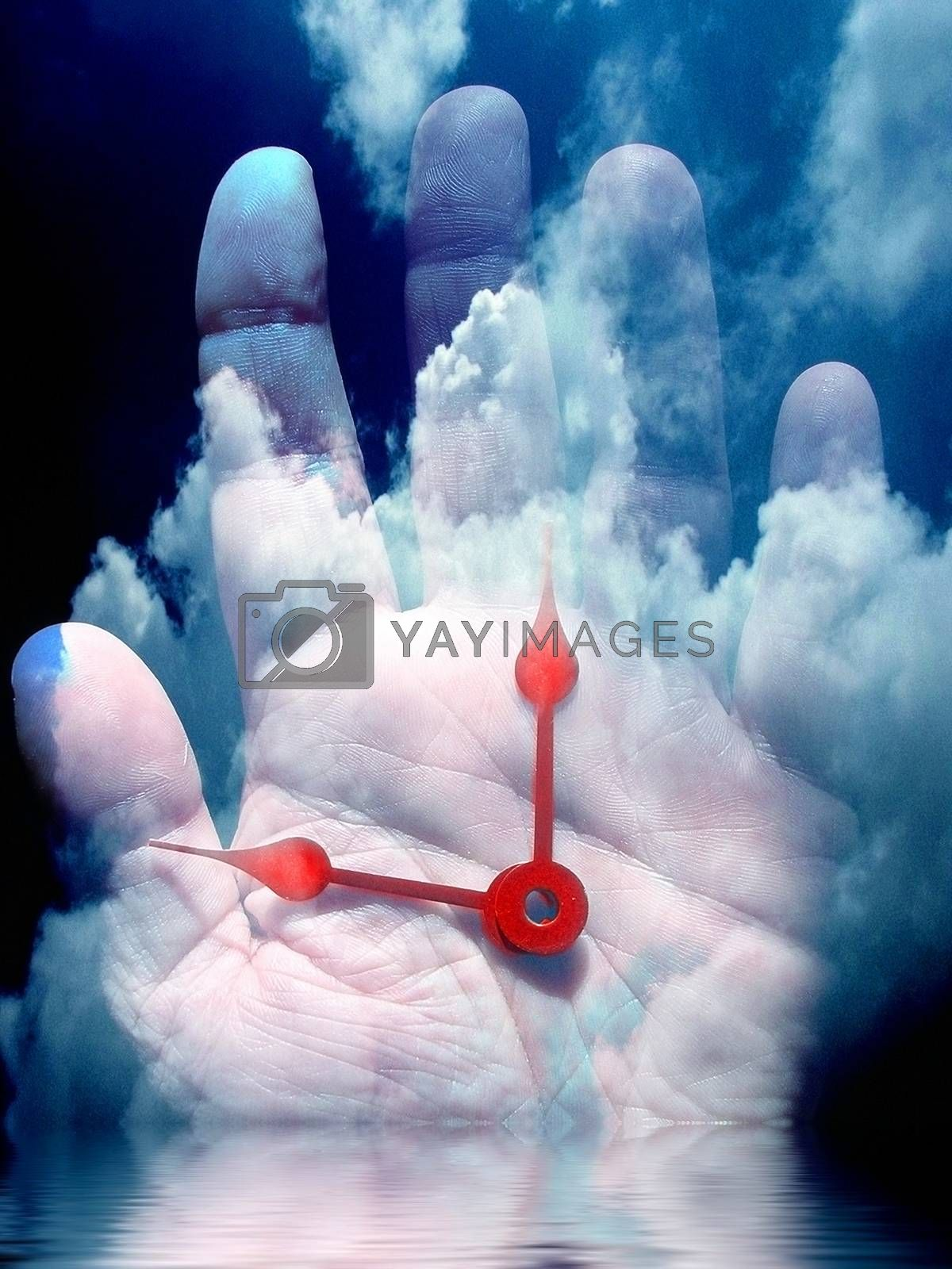 Human time. Clock Hands on a palm. 3D rendering