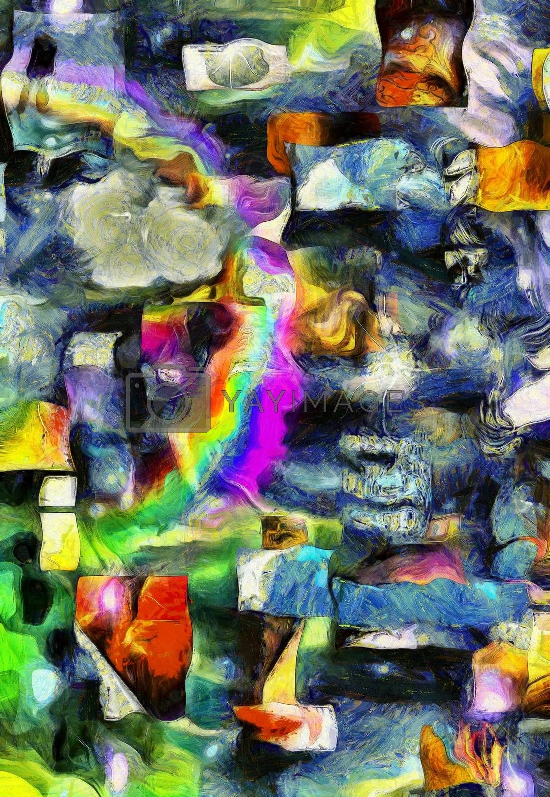 Colorful abstract painting. Brush strokes and geometric elements. 3D rendering