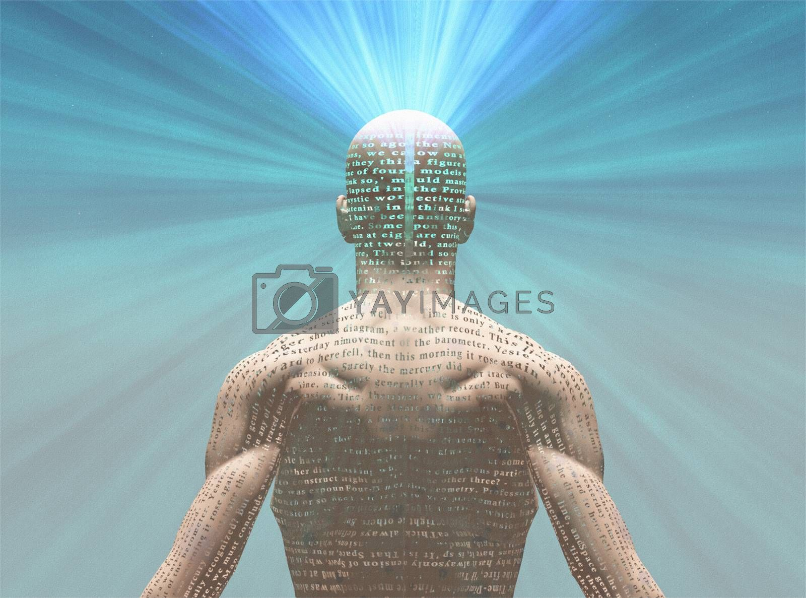 Man radiates light from text on his skin. The text is from HG Wells The Time Machine. 3D rendering